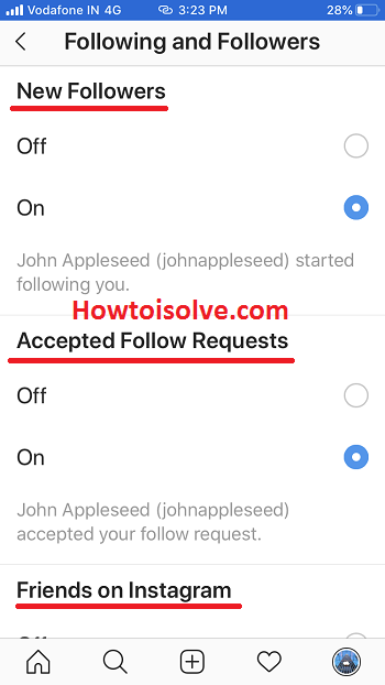 push notifications for instagram on iphone for new followers accepted follow requests friends on Instagram