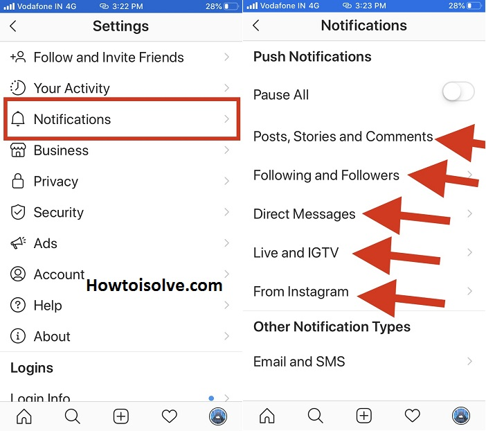 tap notifications and choose what push notifications turn on in Instagram app on iPhone mobile