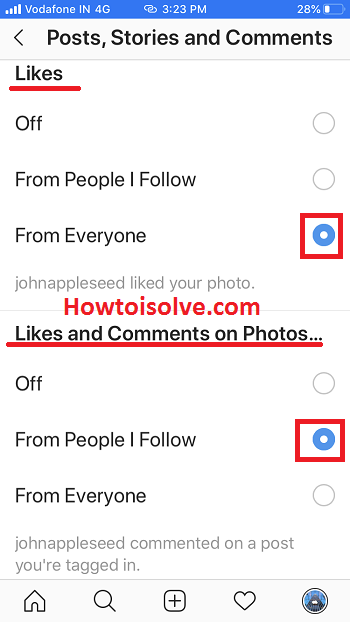 turn on notifications Instagram for like comments photos stories on iPhone