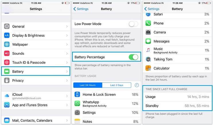 battery percentage not showing in iOS 9 for iPhone 6S, 6S plus