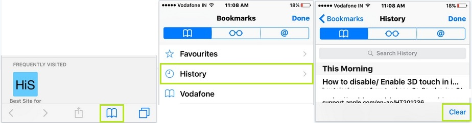 Clear safari browsing history in iOS 9 on iPhone/ iPad