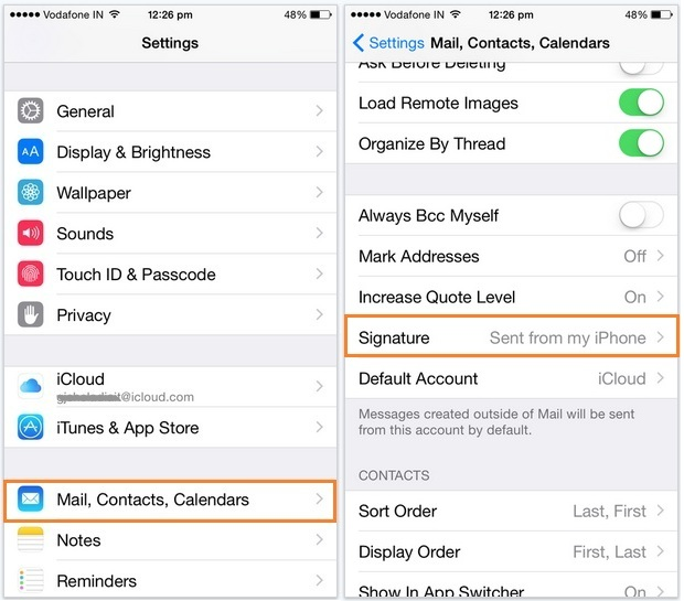 Change iPhone mail signature or add more in signature
