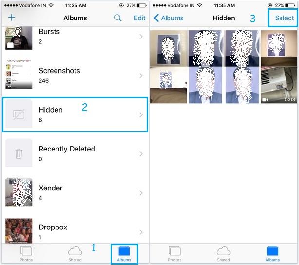 Unhide hidden photos in iOS 9 running in iPhone, iPad, iPod