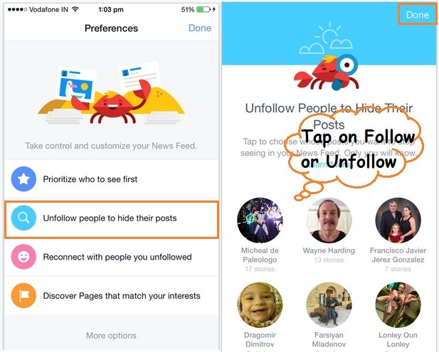 Follow or unfollow people from facebook iOS app