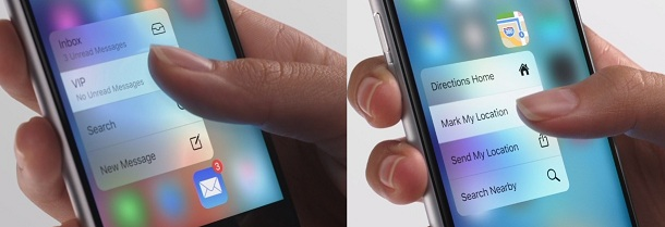 Mail and Map app with 3D touch