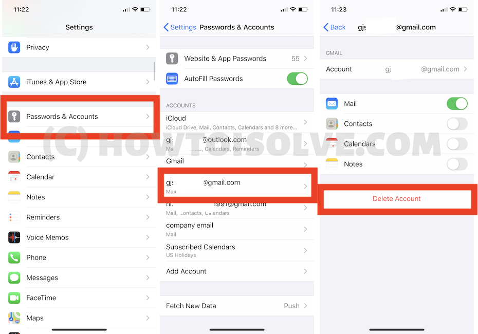 Delete Google Account from iPhone Settings