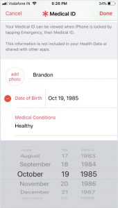 Edit birth date in Medical ID in Health App on iPhone