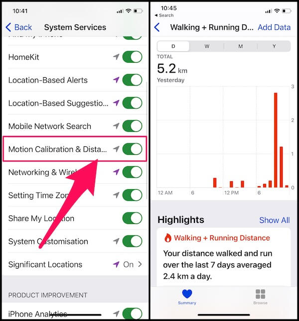 Enable Motion and Calibration for Tacking Not Counting Steps on iPhone, Show Steps, Walking & Running Distance