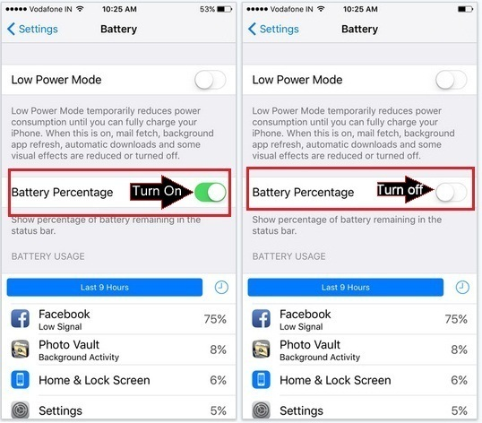 how to turn off battery percentage on iPhone, iPad: iOS 9 or get Enable or Turn on Battery percentage in iOS 9