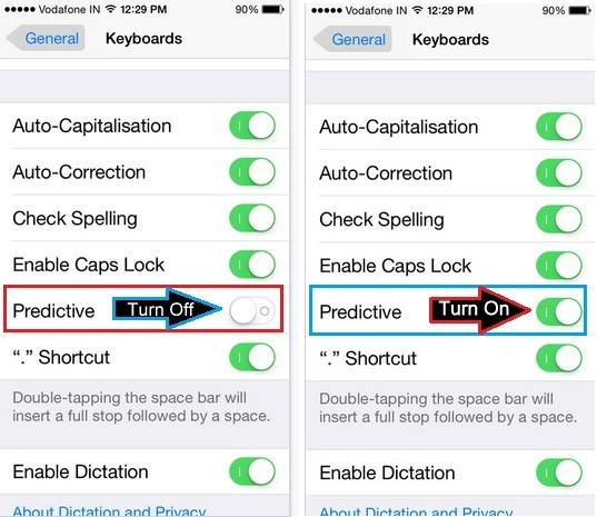 easy method to How to turn on or turn off Predictive text on iOS 9