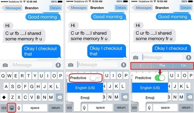 Shortcut way to turnoff predictive text on iOS 9, iPhone 6S, iPhone 6S Plus