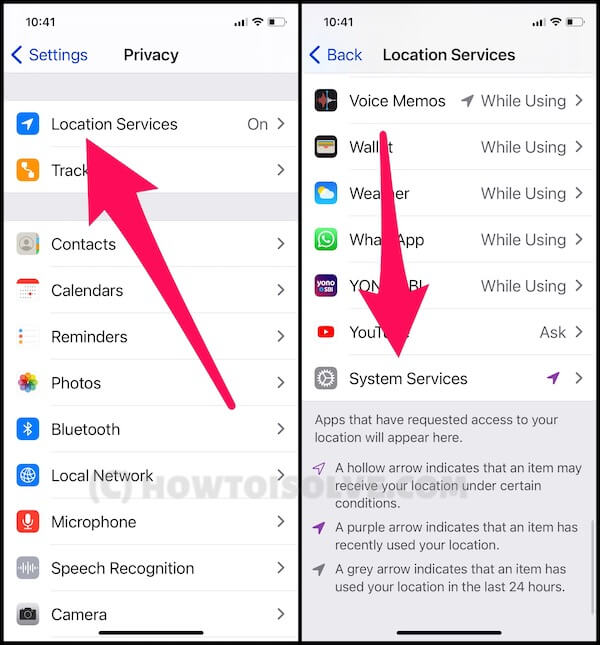 System Location Service settings on iPhone