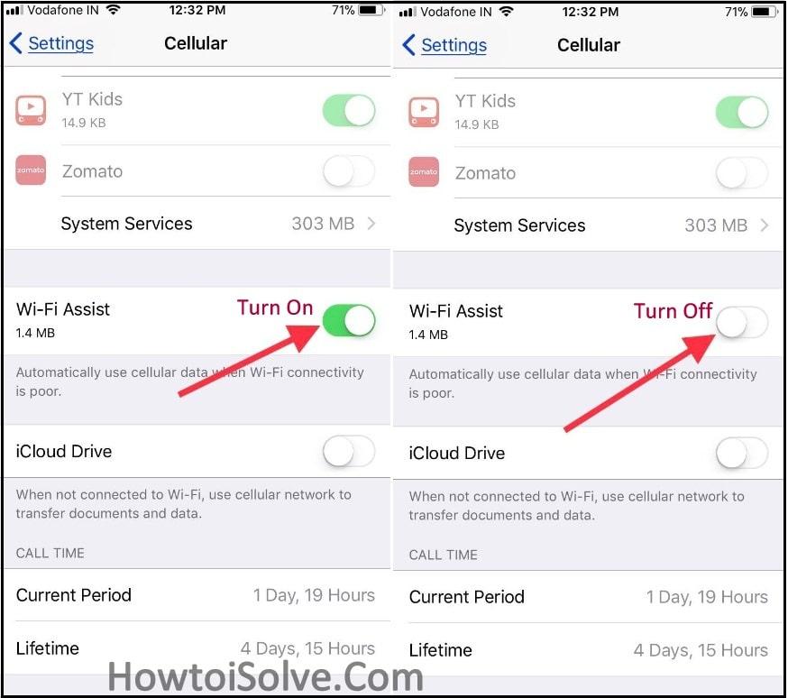 Turn On Turn off Wi-fi Assist on iPhone iPad with cellular on iOS 10 iOS 11 iOS 12