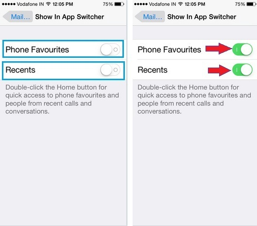 how to turn on recent and favorite contacts on iPhone App switcher on iOS 9, iOS 8
