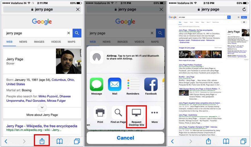 Open mobile website in Desktop view on iPhone, iPad, iPod