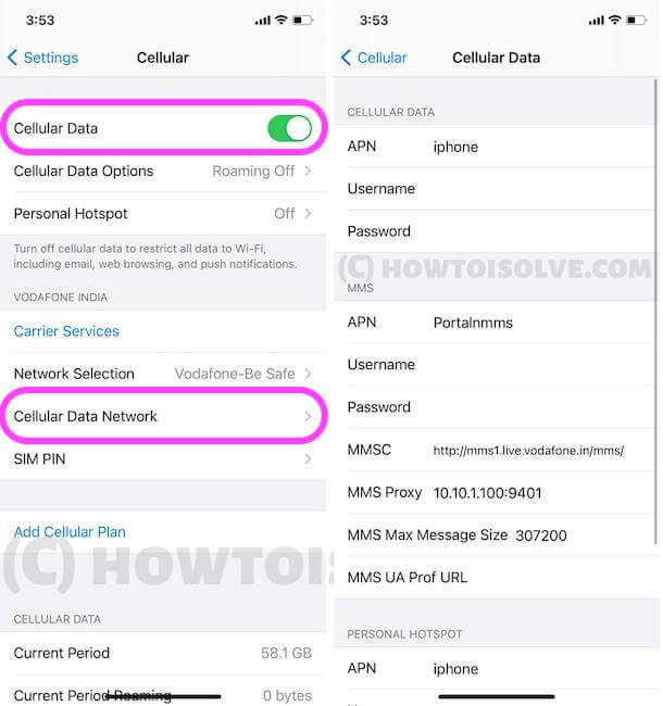 Cellular Data Network Settings on iPhone
