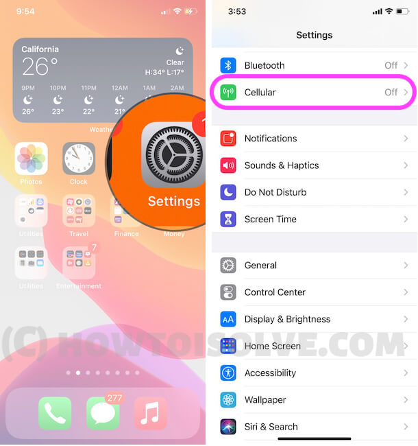Cellular Settings on iPhone
