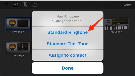 Set ringtone from recorded tunes