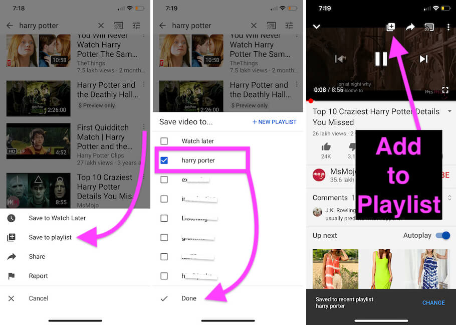 Create a Playlist and Add new Video to Playlist on YouTube App on iphone iPad or Android