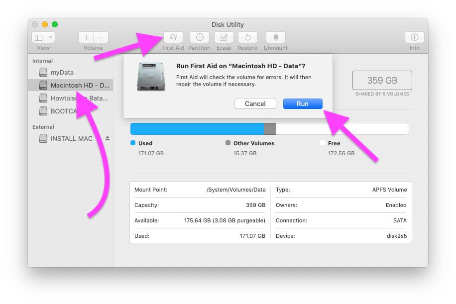 First Aid or Repair macOS Volume or Drive on MacBook Mac