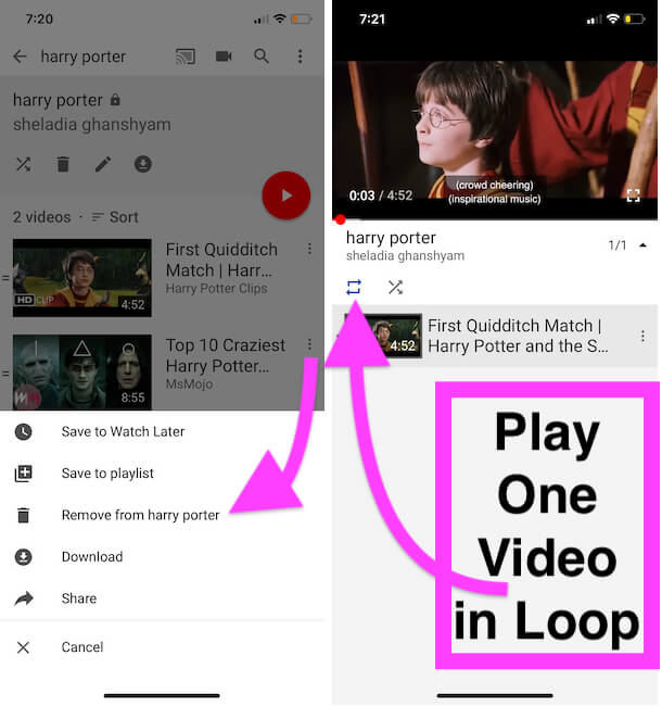 Play One YouTube Video in Loop after Create Playlist in YouTube App