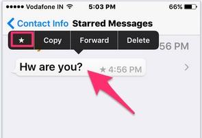 Bookmark message in WhatsApp iOS