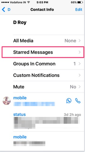 Starred Messages in WhatsApp app