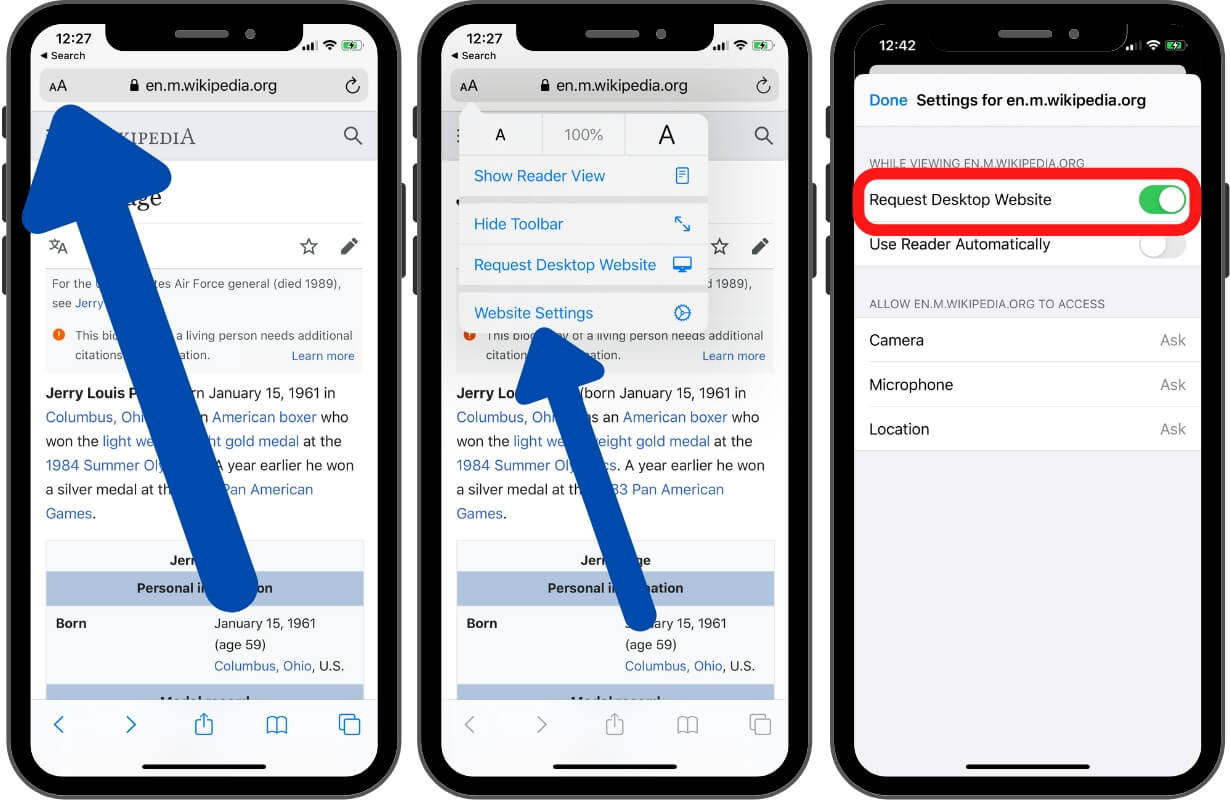 Settings for Request Desktop Website for all time on iPhone and iPad