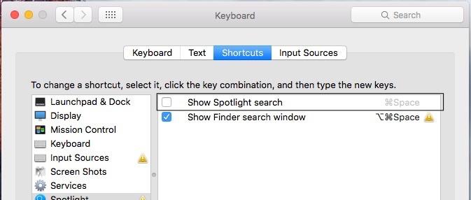 Disable spotlight search on Mac OS X EI Capitan from settings