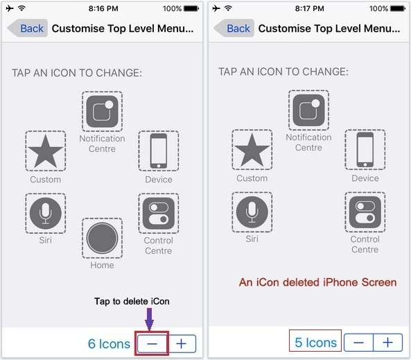 how to delete icon in assistive touch in iOS 9