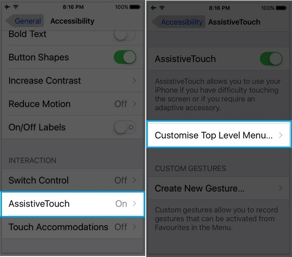Complete steps to customize Assistive touch in iOS 9