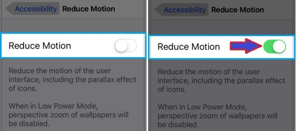 how to disable or enable Reduce motion in iPhoen 6S , iPhone 6S Plus iOS 9, iPad