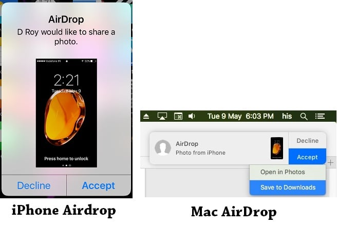 2 AirDrop Receive on Mac and iPhone screen