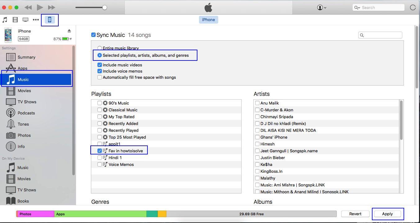 Sync playlist to iOS device