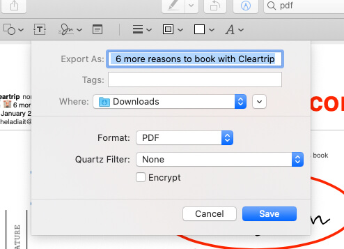 Give name PDF format and Save to location