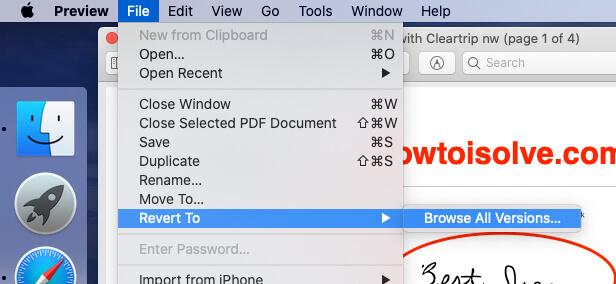 Revert to Old Version of PDF file on Mac
