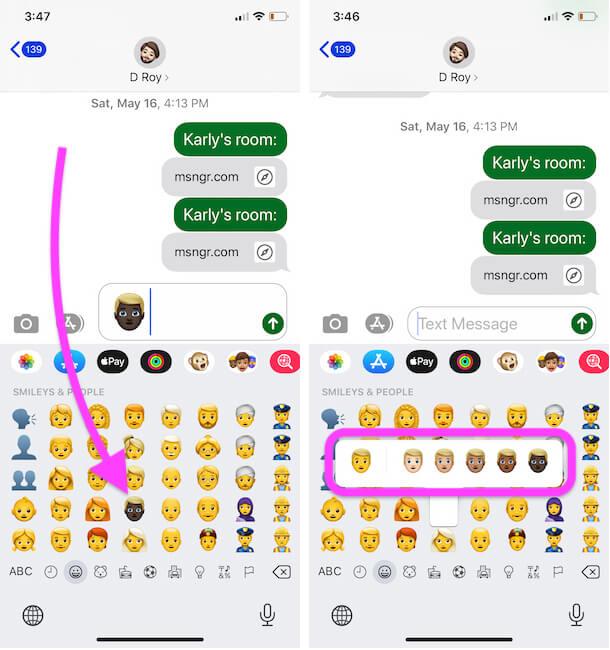 Send Different Emoji Skin Color from iPhone Emoji Keyboard