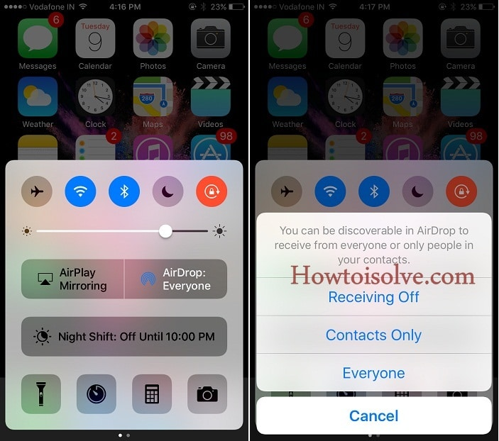 Turn on AirDrop on iPhone screen