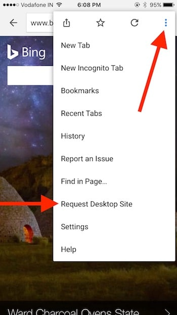 1 Request Desktop view on iPhone Chrome browser