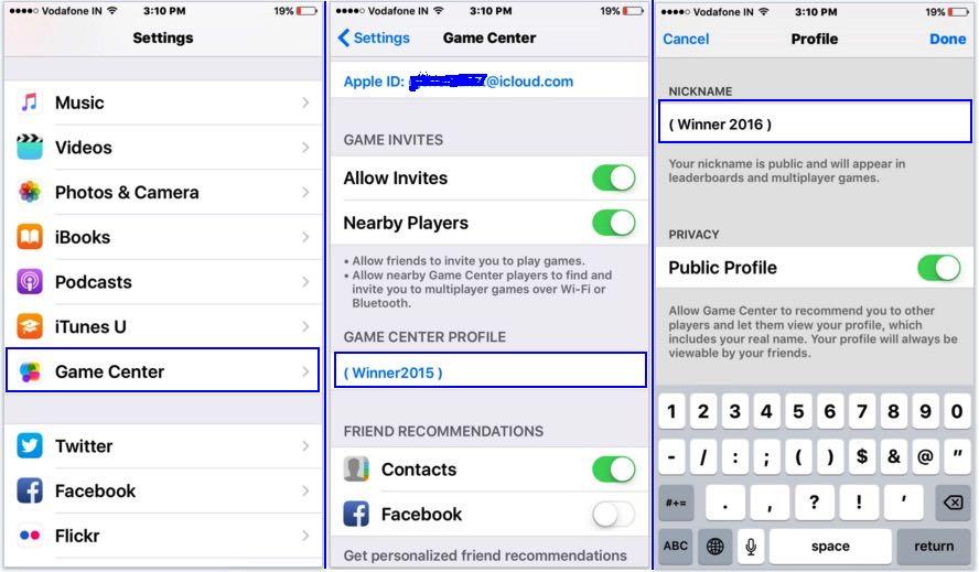 Change Game center Nickname on iPhone, iPad on iOS 8/ iOS 9