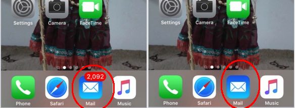 hide unread mail count from iPhone home screen