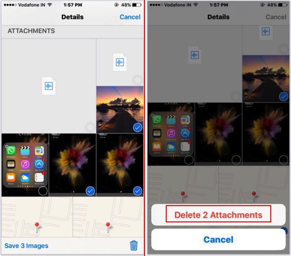 Choose iMessage images for delete to Delete multiple photos from iMessage app on iPhone