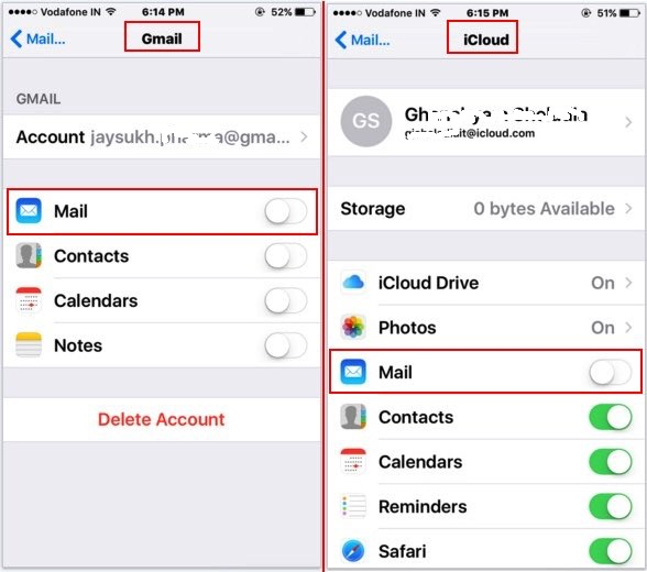 disable mail app count for gmail and icloud mail