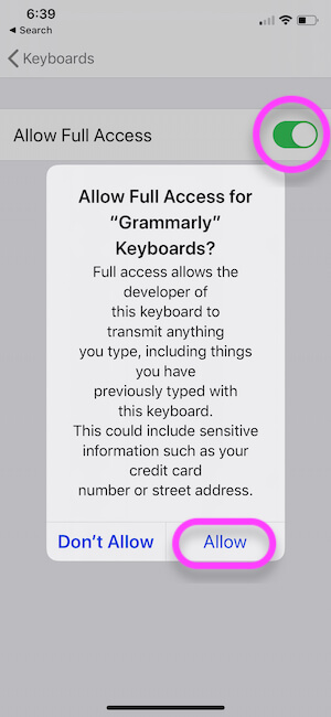 Allow Full Keyboard Access of your iPhone