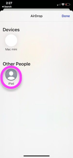 Select Other Apple Device to Send over Airdrop