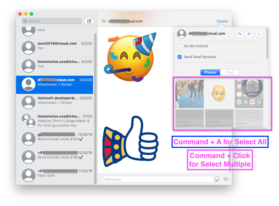 Select Photos from iMessage Profile info