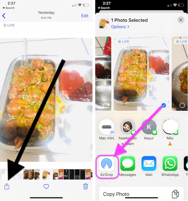 Share Media file to iPad Using Airdrop