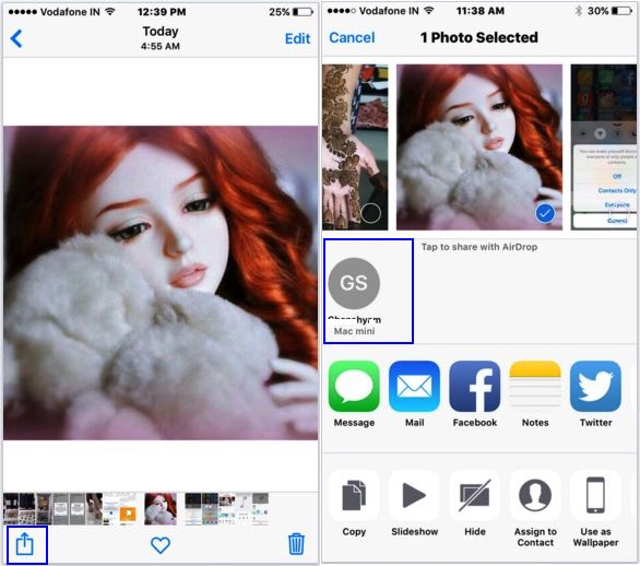 Picture share over AirDrop from iOS 9