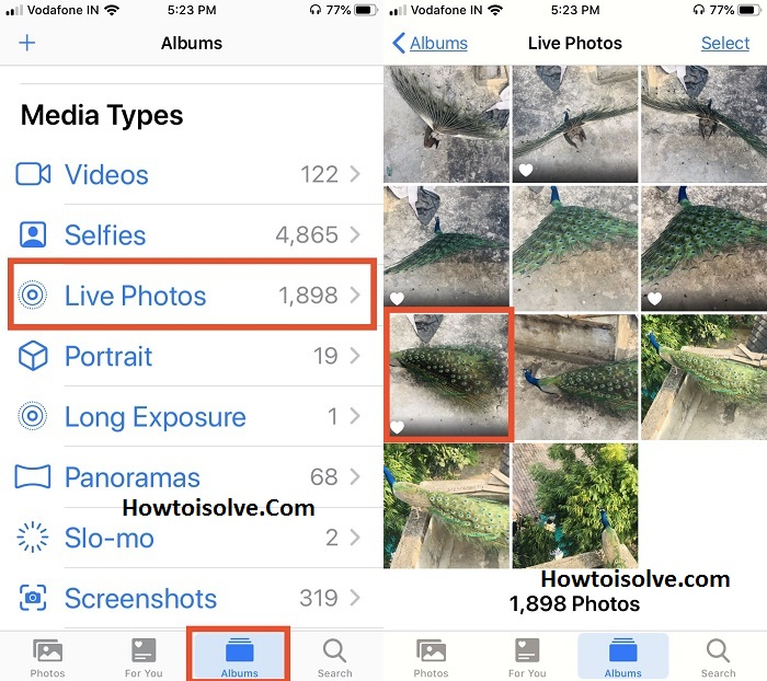 Tap Live Photos folder and choose a live photos to post live photo on Instagram from iPhone