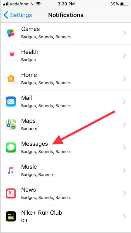 Tap Messages settings on iPhone or iPad